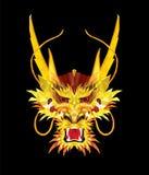Agressieve Aziatische Draak in lage veelhoekstijl, Geometrisch patroon, vector illustratie