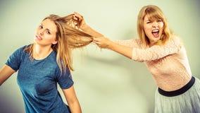 Agressieve gekke vrouwen die elkaar bestrijden Stock Foto
