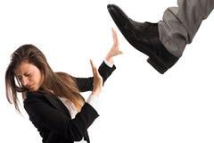 Agressieve werkgever Het concept van Mobbing stock afbeelding