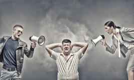 Agression dans la communication Images stock