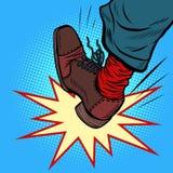 Agression de colère de coup-de-pied de jambe d'homme illustration de vecteur
