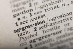 Agression i en ordbok royaltyfri illustrationer