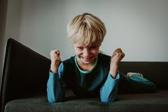 Agressive angry conflict boy stress bullying, prepare to fight. Stress royalty free stock photography