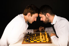 Agressive chess clash Royalty Free Stock Photos