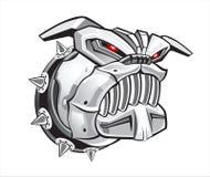 Agressive cyber dog. Vector illustration of agressive metal cyber dog stock illustration