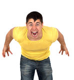 Agressive man. Young athletic muscular man shouting or yelling with fury.Isolated on white background.Agression concept stock image