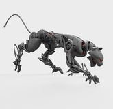 Agressive metal cyborg panther Royalty Free Stock Photos