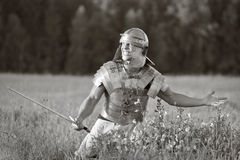 Agressive Roman soldiers. Photo. Royalty Free Stock Photos