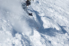 Agressive skiing in the powder. At ski resort stock photo