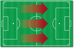 Strategy. Soccer field with strategic arrows moving forwards Royalty Free Stock Photo