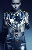 Agresywna astronautyczna seksowna kobieta w kostiumu royalty ilustracja