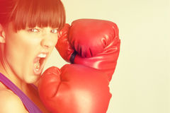 Agresywna Bokserska kobieta Obraz Stock