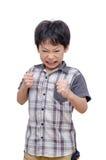 Agresywna chłopiec nad bielem Obrazy Royalty Free