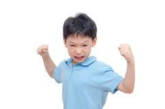 Agresywna chłopiec nad bielem Fotografia Stock