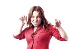 Agresywna dziewczyna na bielu Obrazy Stock