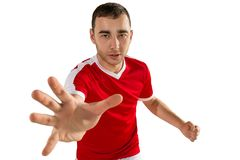 Agresywna i groźna piłka nożna lub gracz futbolu Fotografia Royalty Free