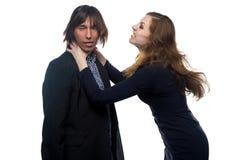 Agresywna kobieta i mężczyzna Fotografia Stock