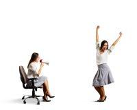 Agresywna kobieta i radosna kobieta Zdjęcia Stock
