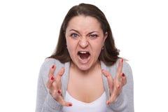 Agresywna kobieta próbuje krzywdzić ciebie Fotografia Stock