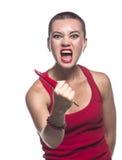 Agresywna kobieta z chili pieprzem Fotografia Stock