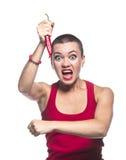Agresywna kobieta z chili pieprzem Zdjęcie Royalty Free