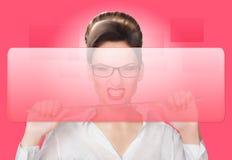 Agresywna kobieta z pointerem Pojęcie Zdjęcie Stock
