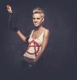 Agresywna punkowa dziewczyna Zdjęcia Stock
