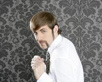 agresywnego biznesmena śmieszny wąsy retro Zdjęcia Stock