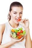 Agresywnej kobiety zjadliwy pomidor Obrazy Royalty Free