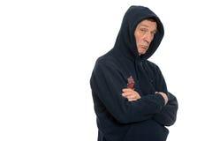 Agresywni bezrobotni mężczyzna w kapiszonie Obraz Royalty Free