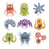 Agresywni Fantastyczni Obcy mikroorganizmy Ustawiający ilustracja wektor