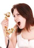 agresywni telefonu kobiety potomstwa Obraz Royalty Free