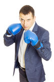agresywności bokserskiego biznesmena turniejowe pojęcia rękawiczki Obrazy Stock