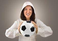 Agresywny żeński gracza futbol Obraz Royalty Free