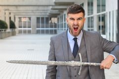 Agresywny biznesmen przygotowywający walczyć Fotografia Stock