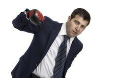 Agresywny biznesmen z bokserskimi rękawiczkami Obraz Royalty Free