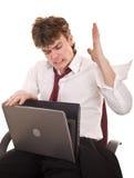 agresywny biznesmena kryzysu laptop Obrazy Stock