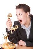 agresywny bizneswomanu telefonu target654_0_ Zdjęcie Royalty Free