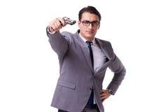 Agresywny business manager z pistolecikiem odizolowywającym na bielu Zdjęcia Stock