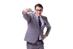Agresywny business manager z pistolecikiem odizolowywającym na bielu Obrazy Stock
