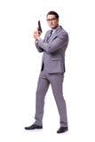 Agresywny business manager z pistolecikiem odizolowywającym na bielu Zdjęcie Stock