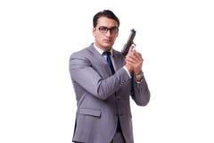 Agresywny business manager z pistolecikiem odizolowywającym na bielu Fotografia Stock