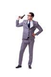 Agresywny business manager z pistolecikiem odizolowywającym na bielu Obraz Stock