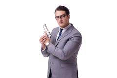 Agresywny business manager z pistolecikiem odizolowywającym na bielu Zdjęcie Royalty Free