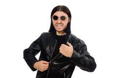 Agresywny gniewny mężczyzna odizolowywający na bielu fotografia royalty free