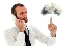Agresywny i gniewny biznesmen przy telefonem Obraz Stock