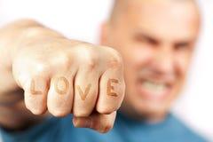 agresywny jego knykci miłości mężczyzna słowa Obraz Stock