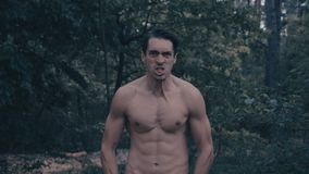 Agresywny mężczyzna wściekle krzyczy w lesie z nagą półpostacią zbiory wideo
