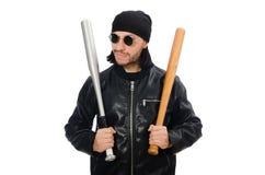 Agresywny mężczyzna z kijem bejsbolowym na bielu Zdjęcie Stock
