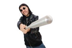 Agresywny mężczyzna z kijem bejsbolowym na bielu Zdjęcia Stock